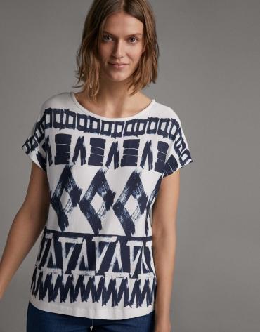 Blue geometric print top