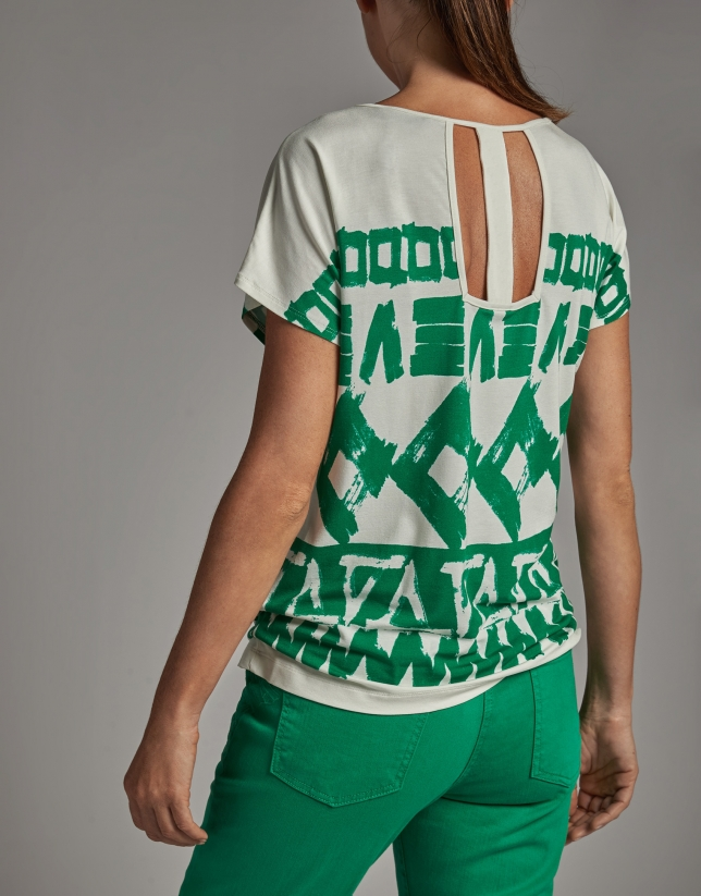 Green geometric print top