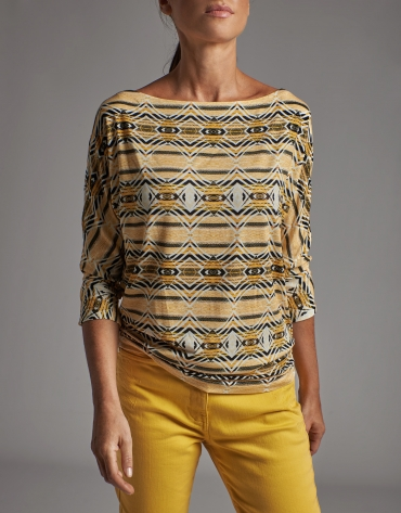 Gold print top with bat sleeves