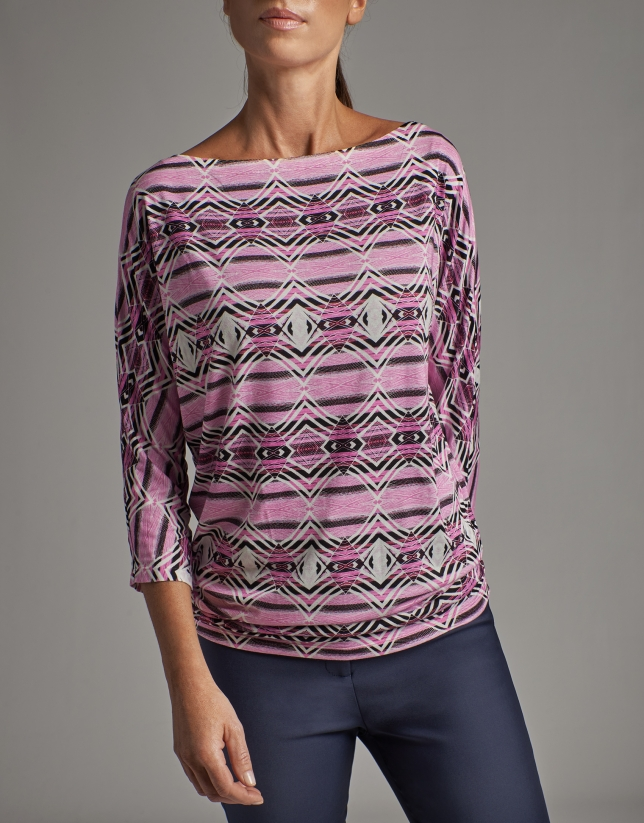 Pink print top with bat sleeves