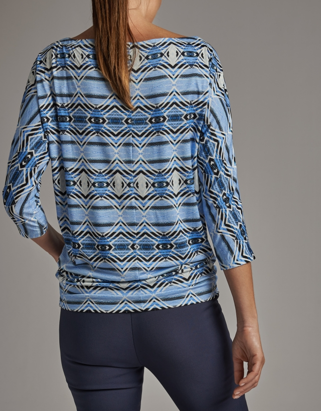 Indigo blue print top with bat sleeves