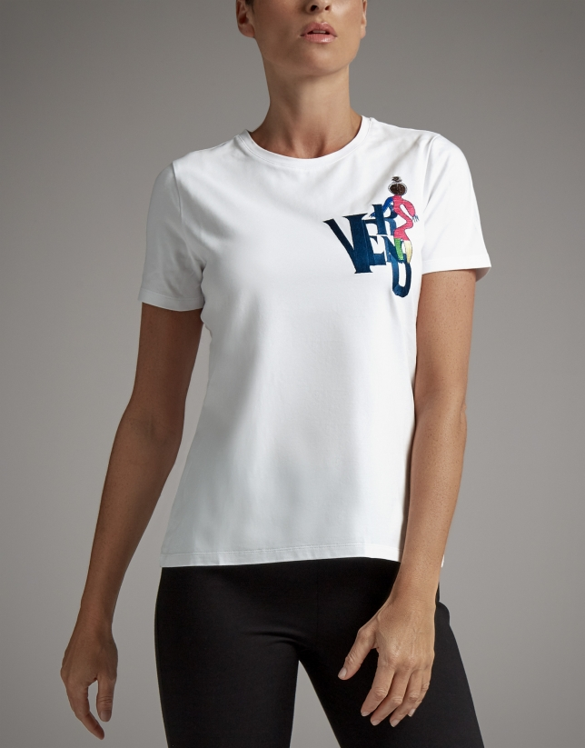 White top with Verino logo and embroidered ballerina
