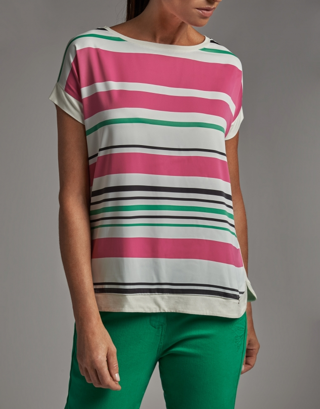 Short-sleeved top with stripes in front