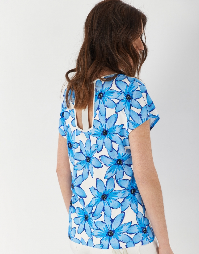 Top with large floral print