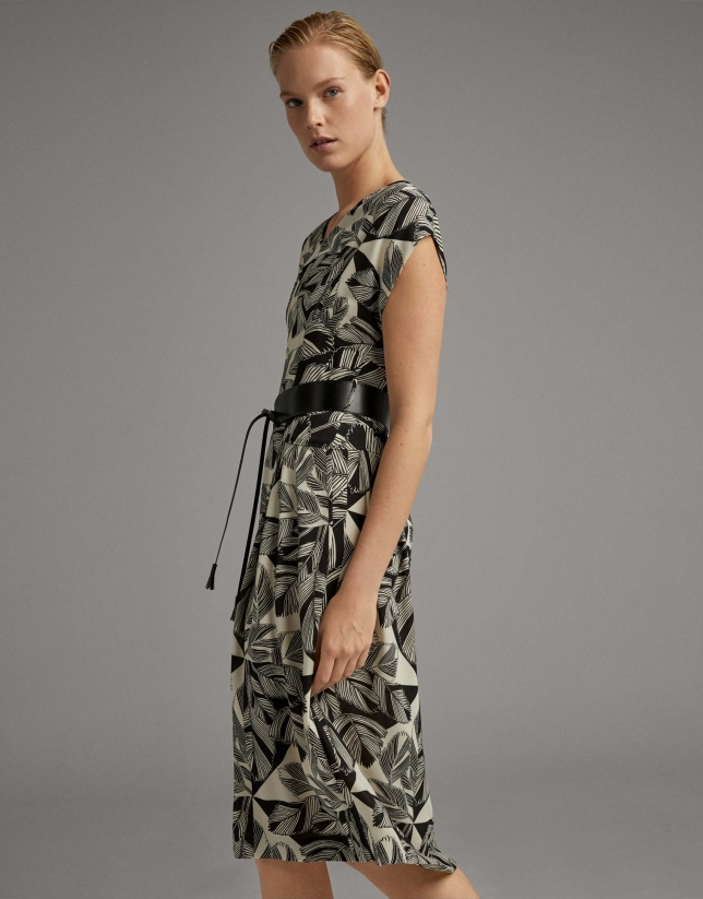 Black midi flowing dress with floral print
