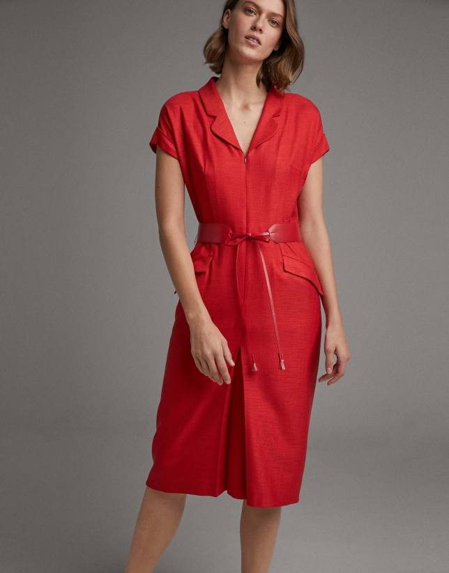 Red shirtwaist dress with short sleeves