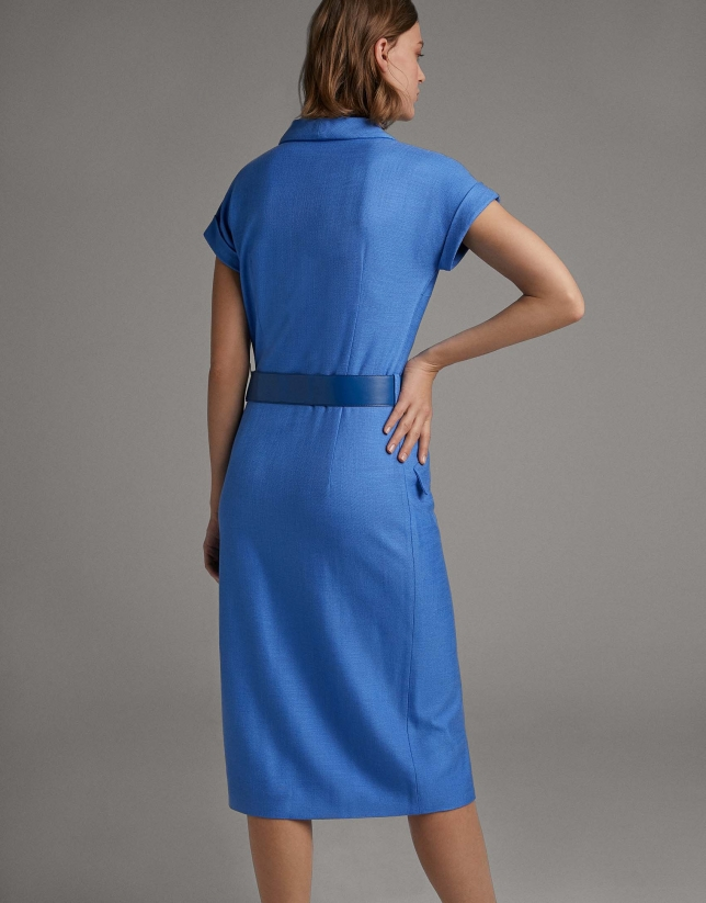 Vestido camisero manga corta azul