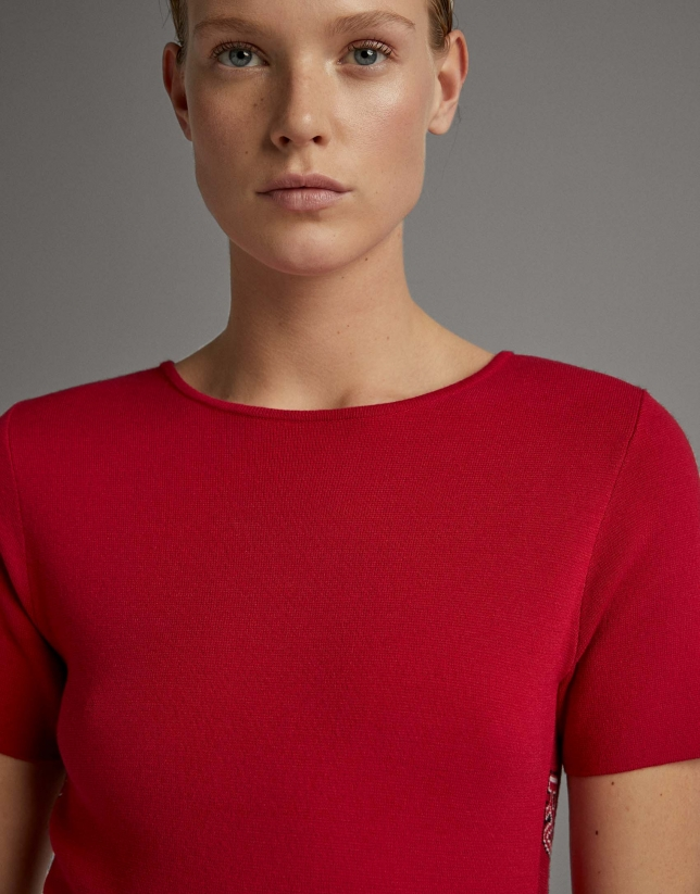Red knit midi dress with RV jacquard