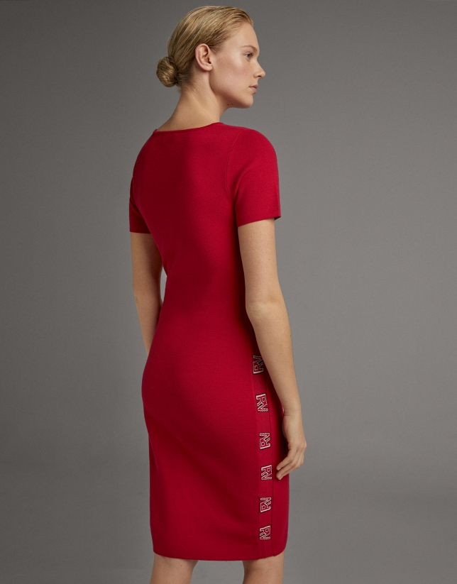 Vestido midi punto rojo con jacquard RV