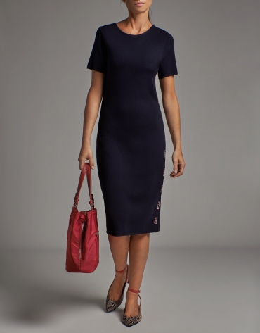 Navy blue knit midi dress with RV jacquard