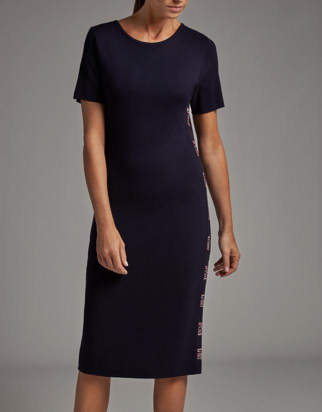 Navy blue knit midi dress with RV jacquard