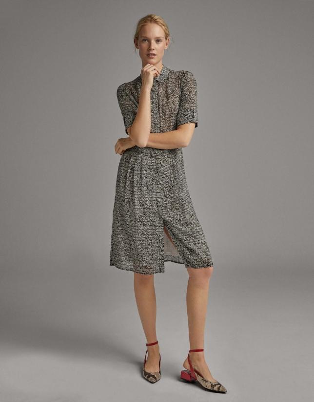 Black and white print flowing shirtwaist dress