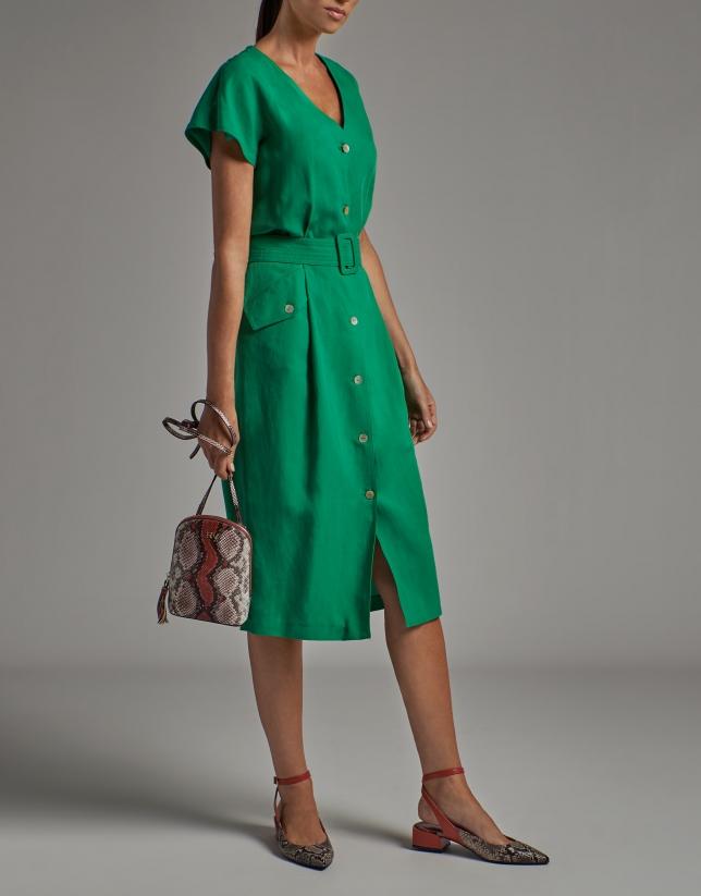 Green midi shirtwaist dress