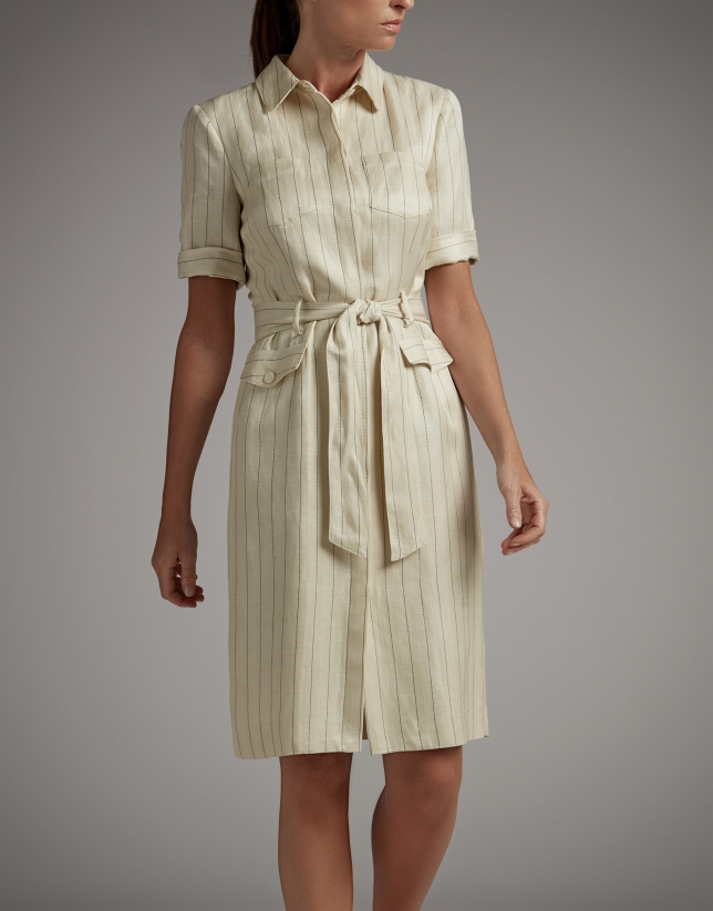 Vanilla pinstripe shirtwaist dress