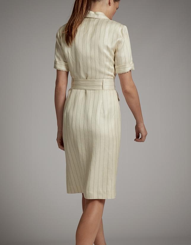 Vanilla pinstripe shirtwaist dress
