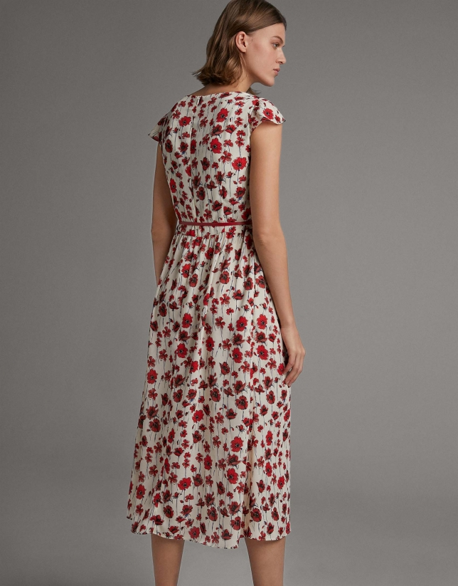 Long floral print flowing dress