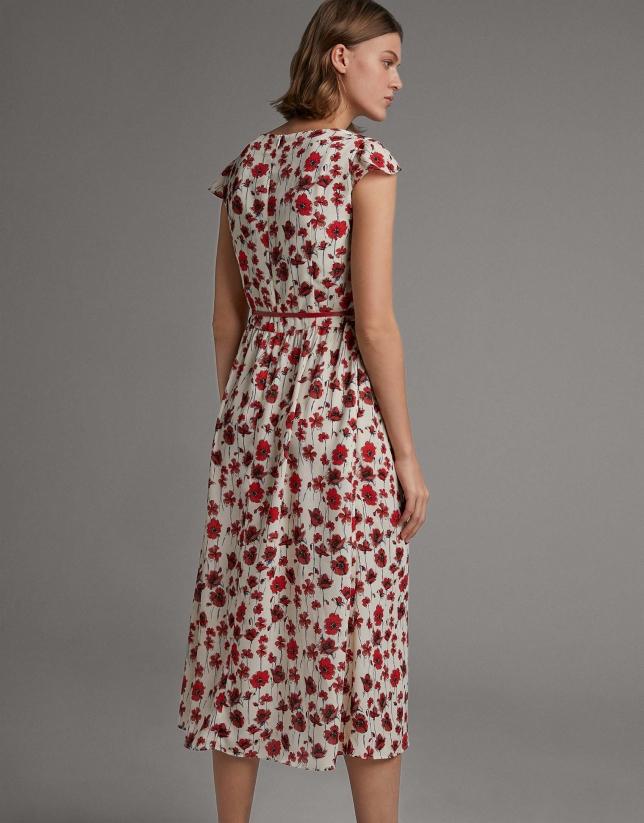 Vestido largo fluido estampado floral