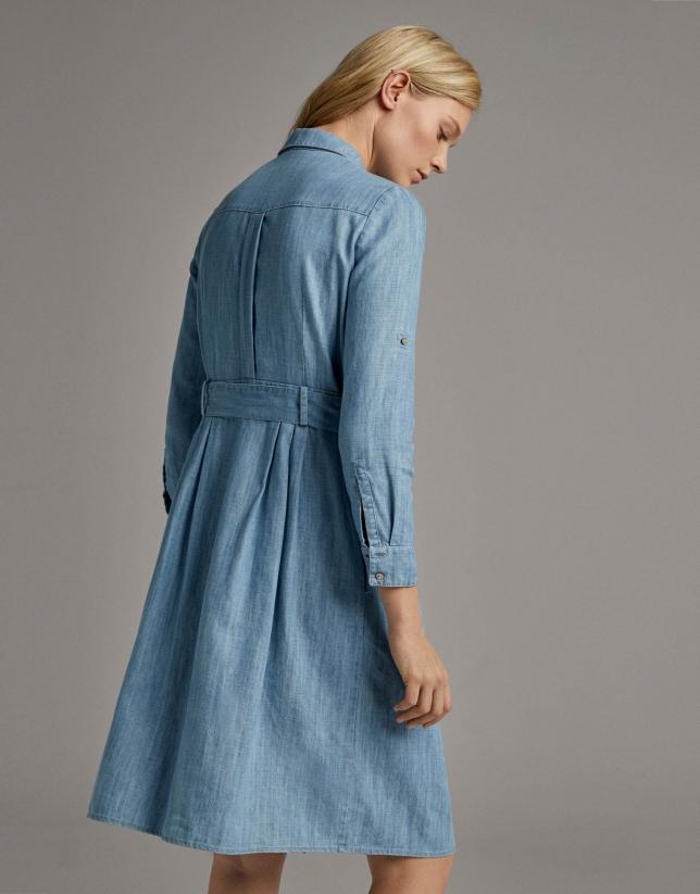 Blue shirtwaist dress