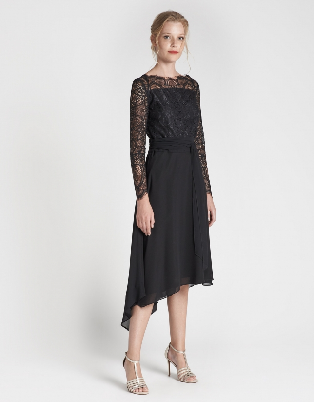 Black flowing midi dress with long sleeves