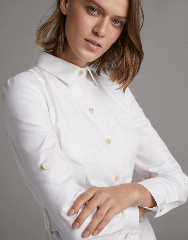White shirtwaist dress