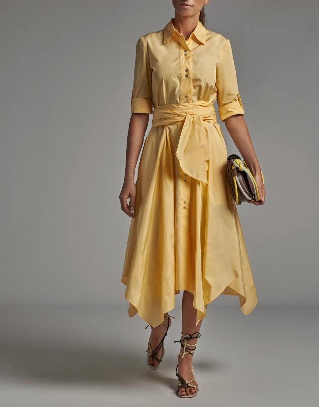 Pastel yellow taffeta shirtwaist dress