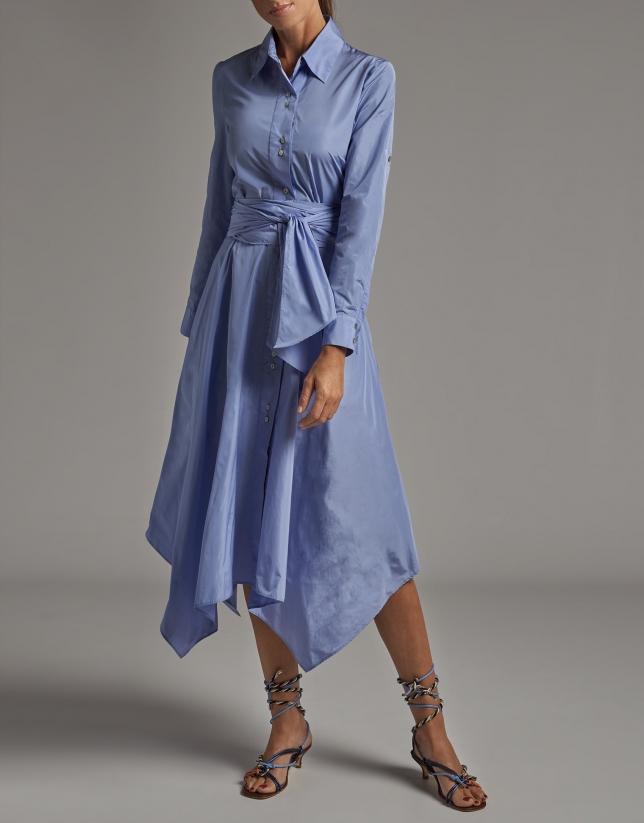 Pastel blue taffeta shirtwaist dress