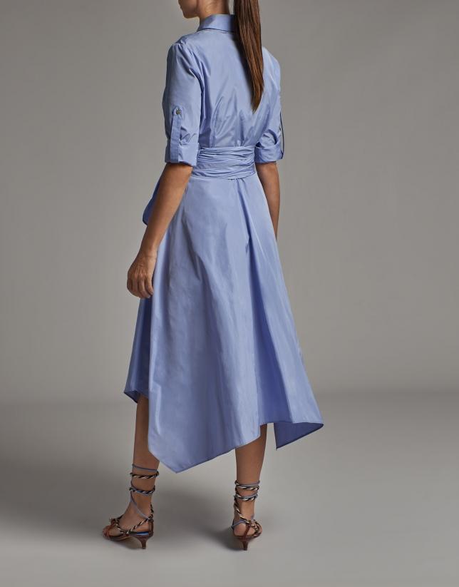 Vestido camisero tafetán azul pastel