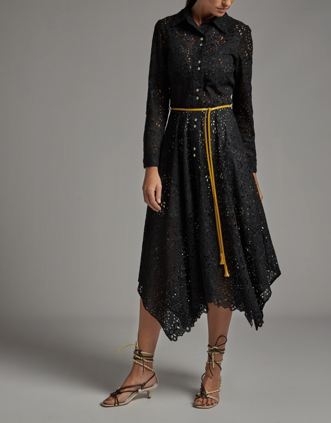 Shirtwaist dress with English embroidery
