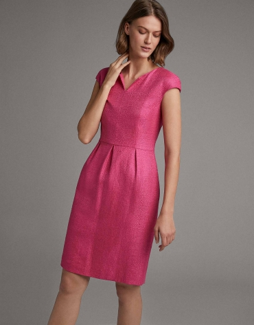 Fuchsia midi dress with tulip cut