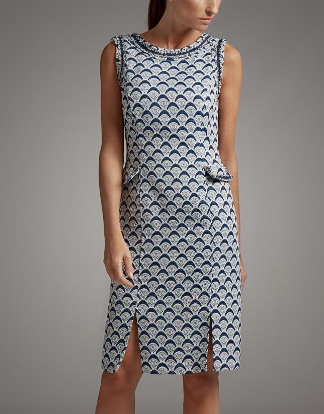 Vestido midi azul estampado geométrico