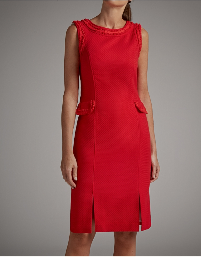 Red piqué midi dress
