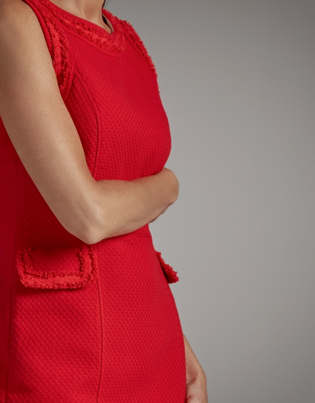 Red piqué midi dress