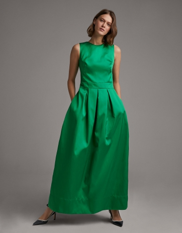 Long green party dress