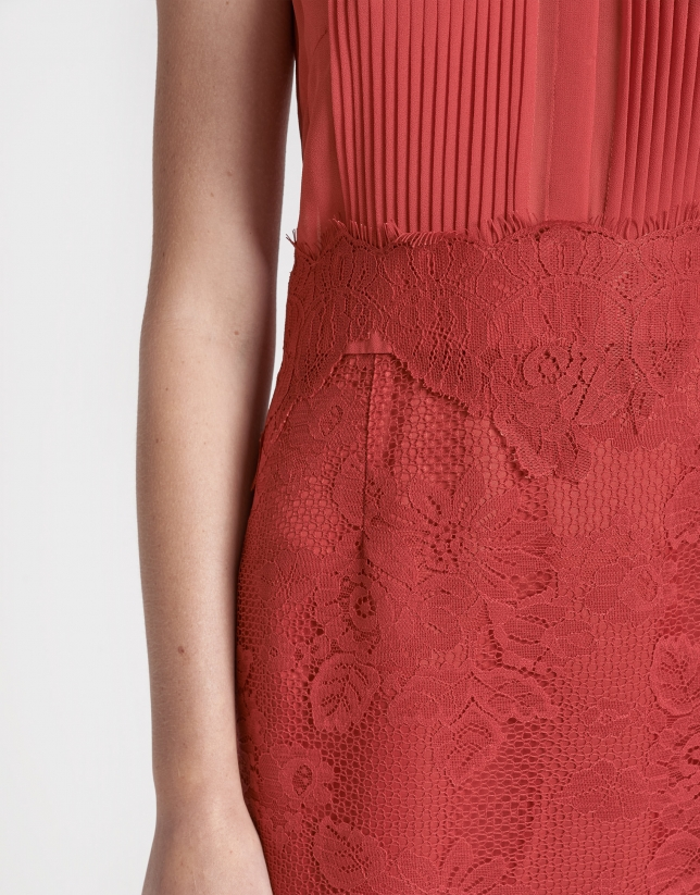 Red midi dress with lace