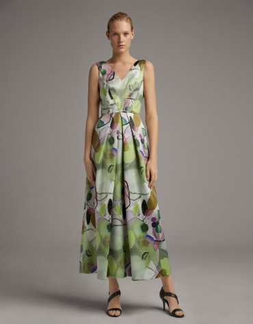 Long party dress with lavender and green print