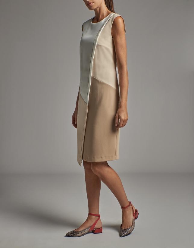 Mink/beige sleeveless asymmetric dress