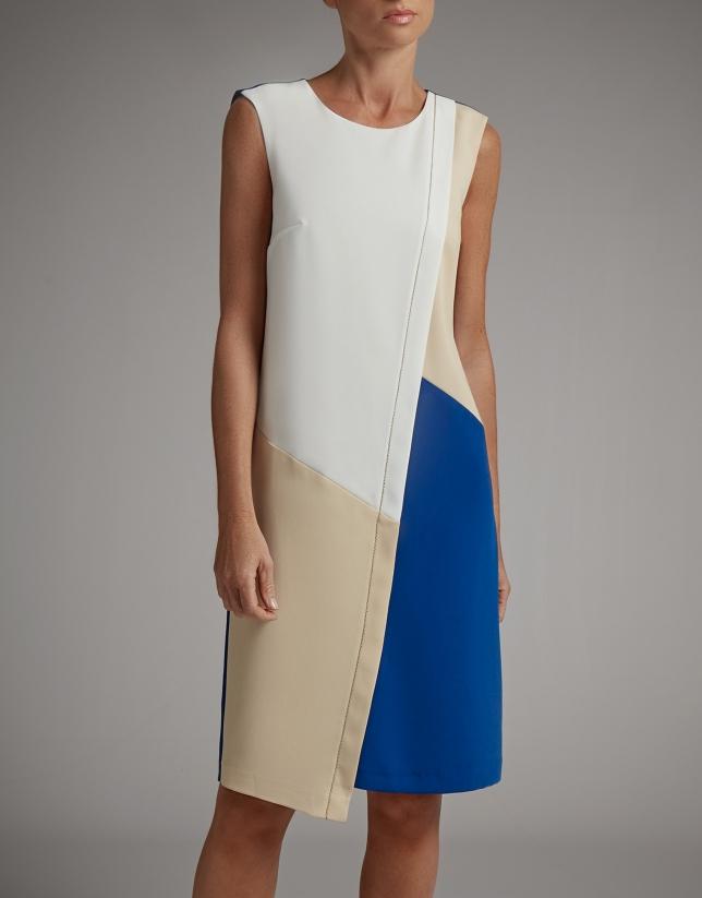 Vestido asimétrico sin mangas visón/marino