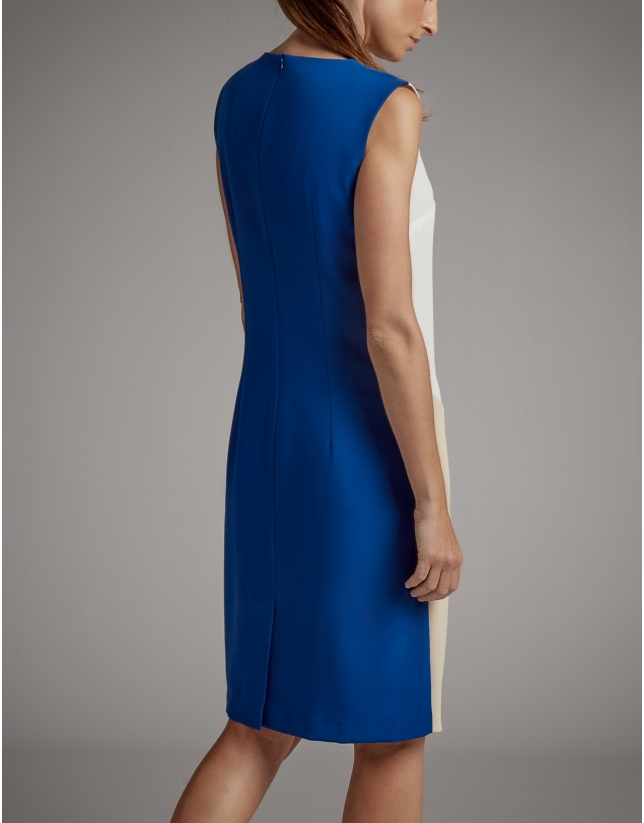 navy blue sleeveless asymmetric dress
