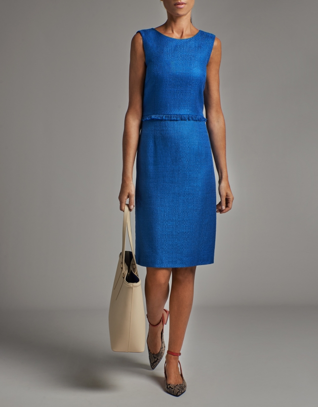 Cobalt blue sleeveless midi dress