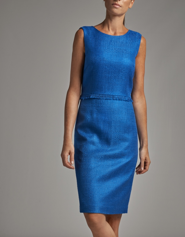 Vestido midi sin mangas azul cobalto