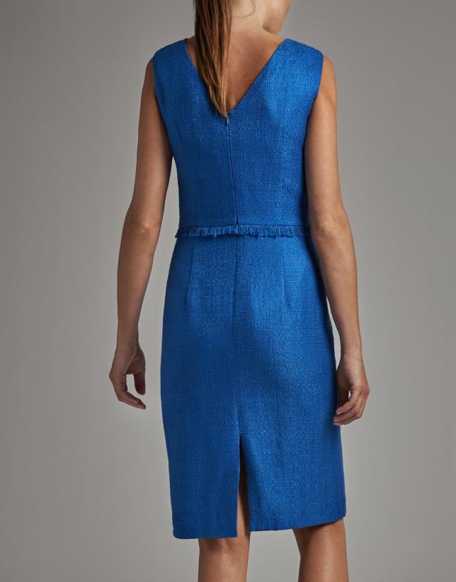 Cobalt blue sleeveless midi dress