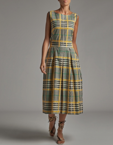Green glen plaid midi dress