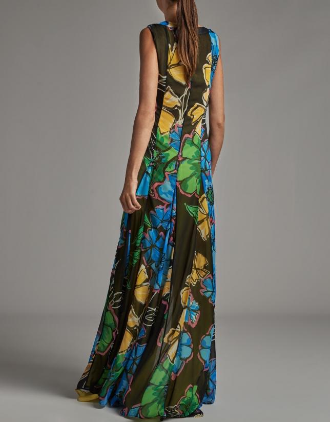 Vestido largo fluido sin mangas estampado floral