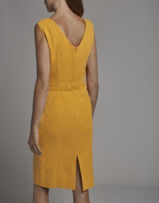 Gold midi sleeveless dress