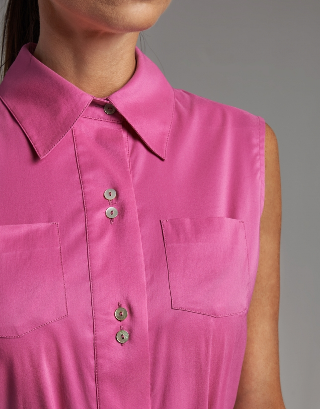 Plain fuchsia shirtwaist dress