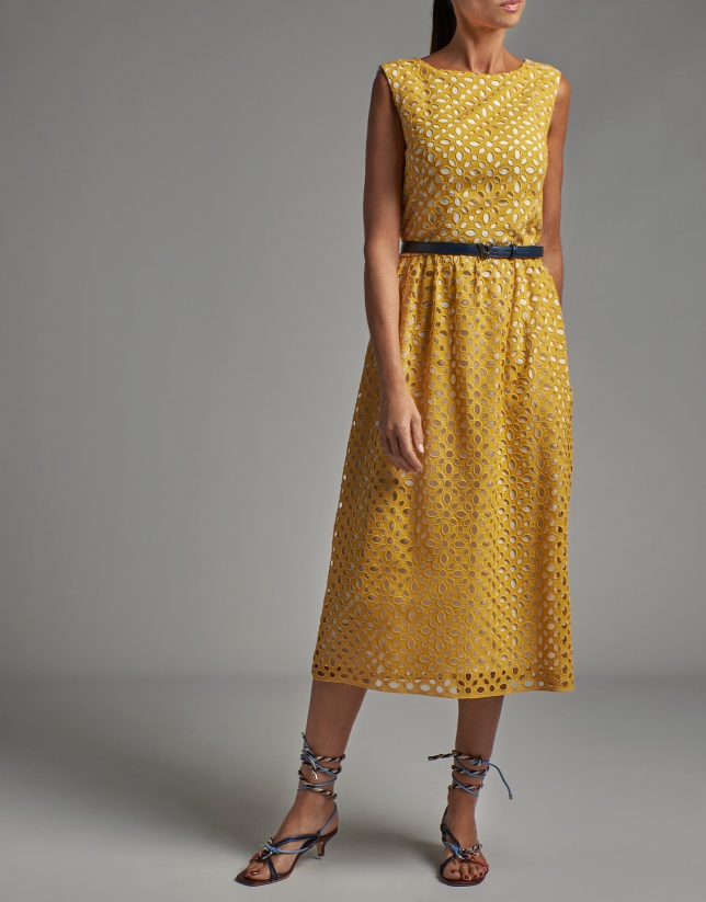 Yellow midi dress with English embroidery