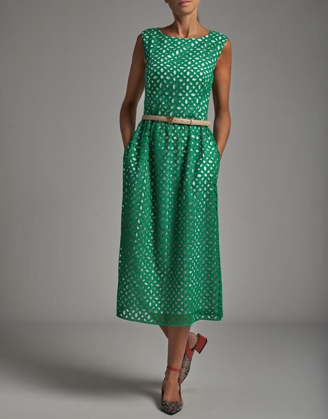 Vestido midi bordado inglés verde