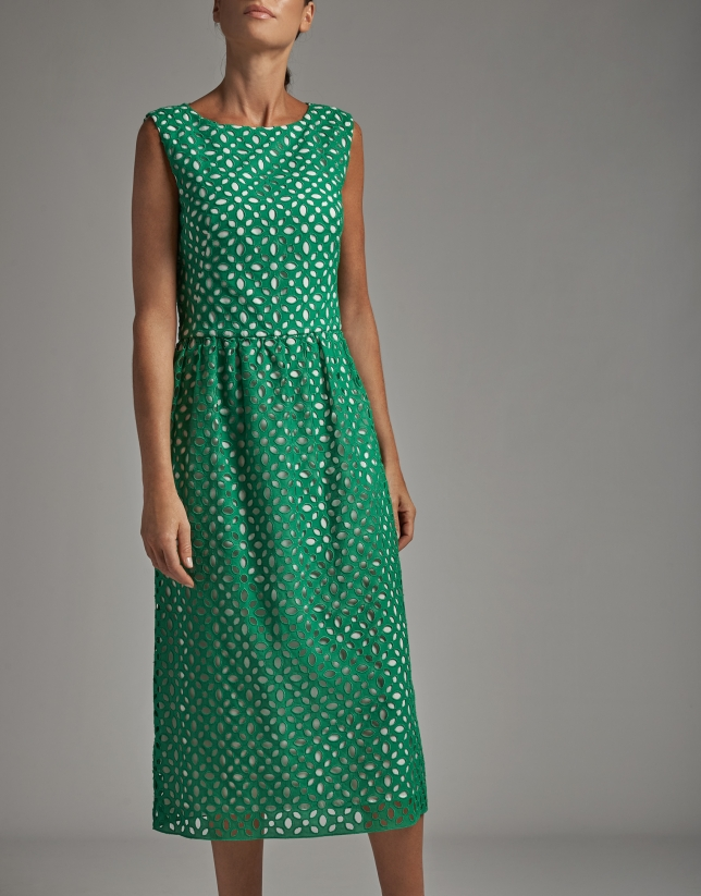 Green midi dress with English embroidery