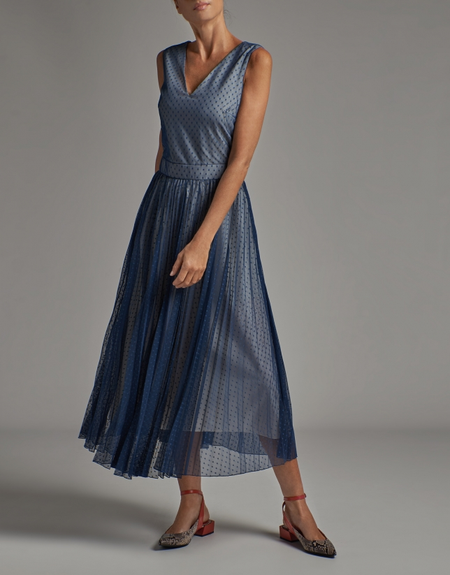 Cobalt blue tulle dress with dotted print