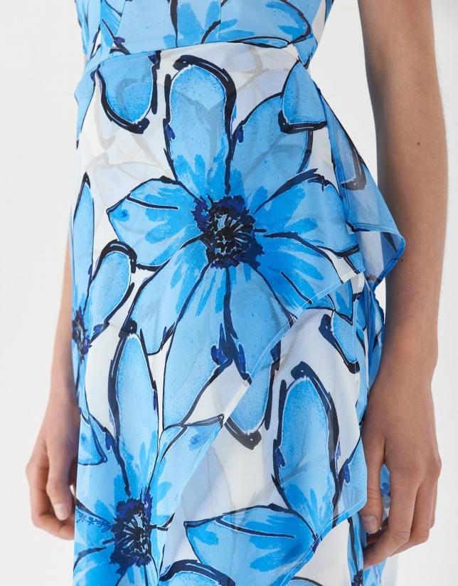 Vestido fluído estampado floral grande